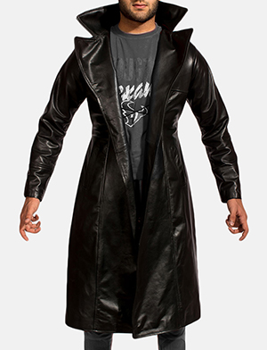 Mens Dracullum Black Leather Coat