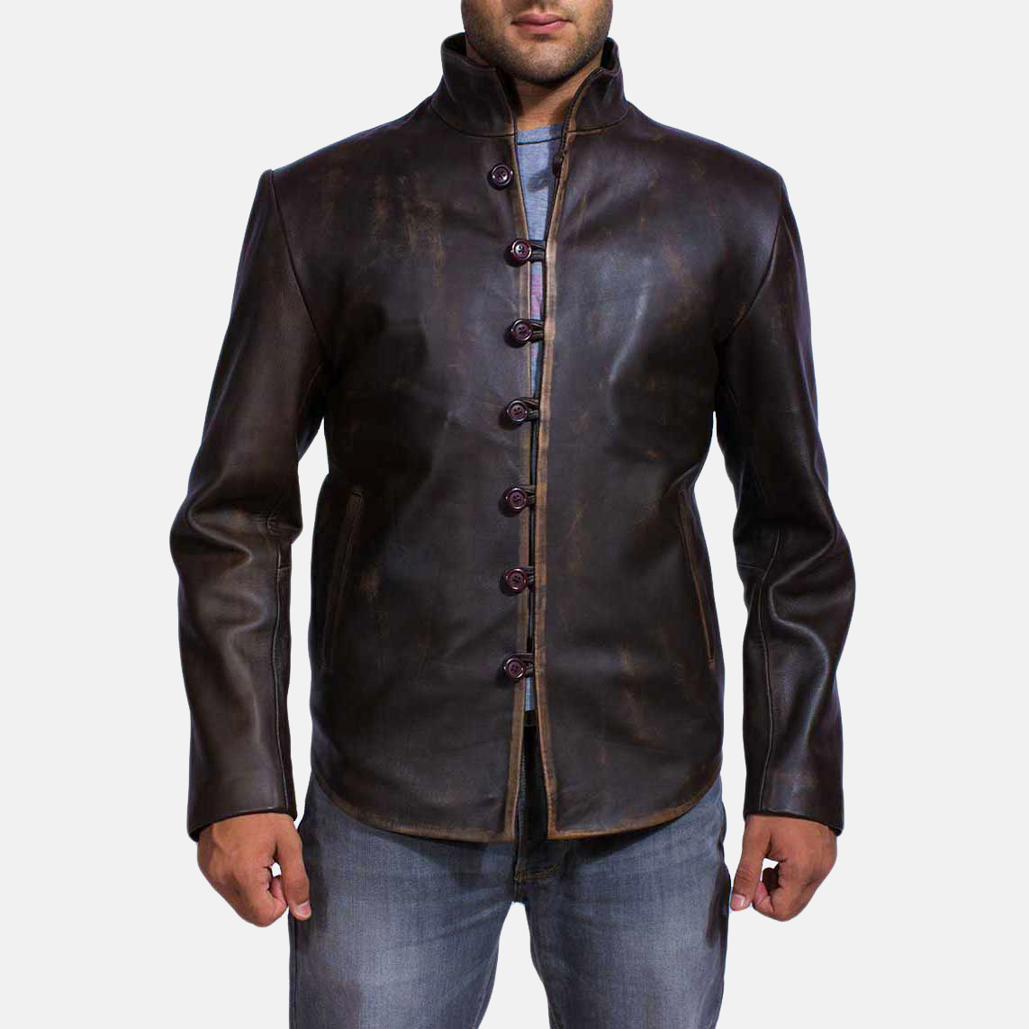 Mens Drakeshire Brown Leather Jacket 1