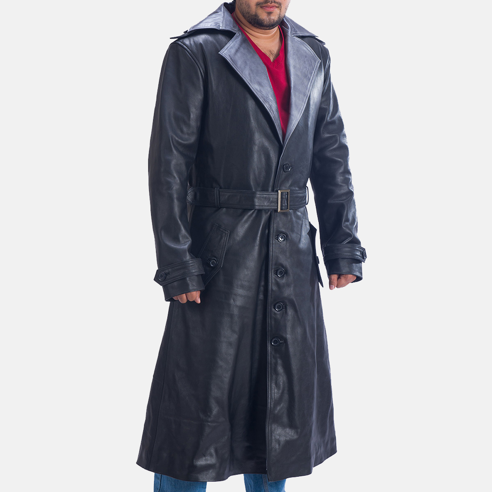 Mens Enigma Black Leather Trench Coat 3