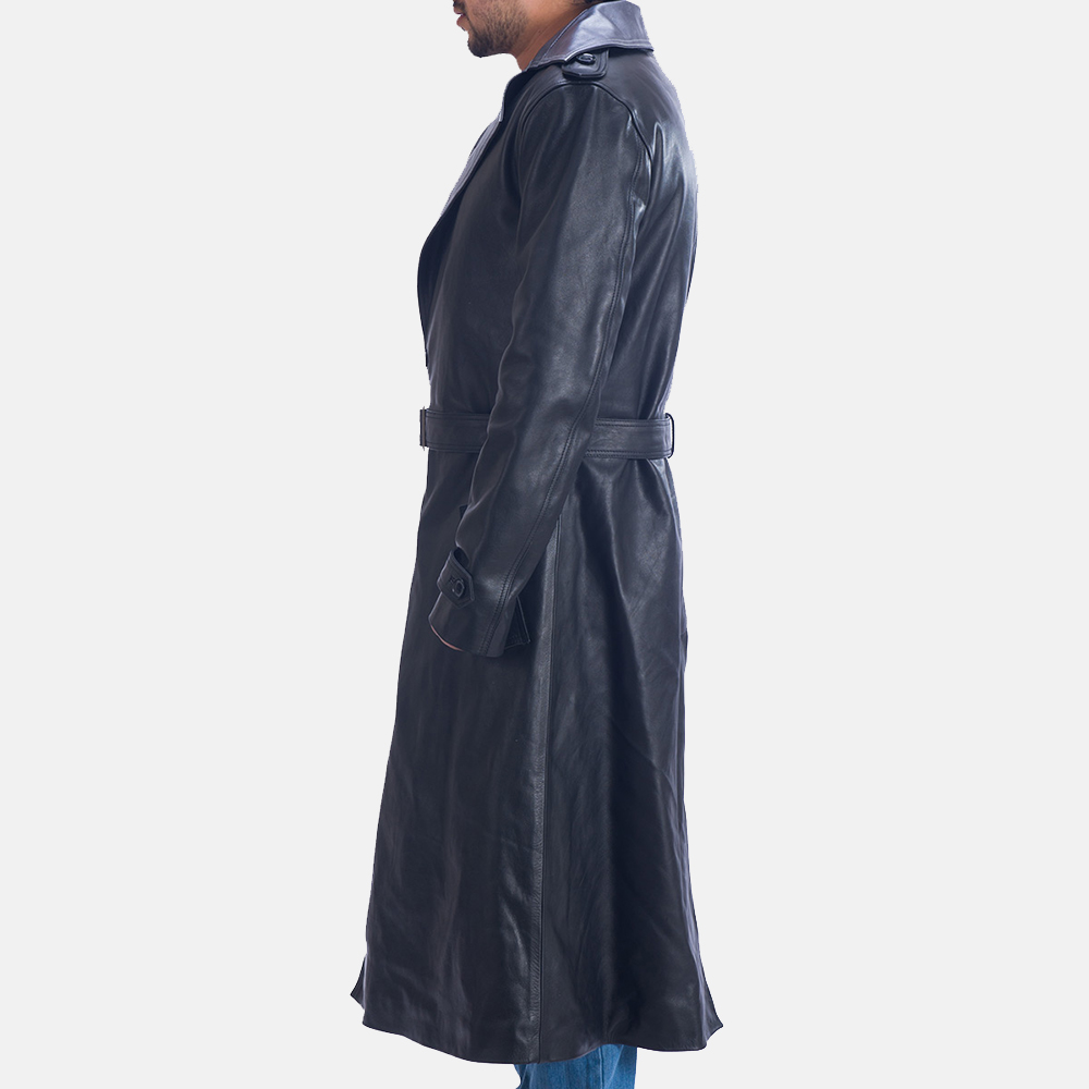 Mens Enigma Black Leather Trench Coat 4