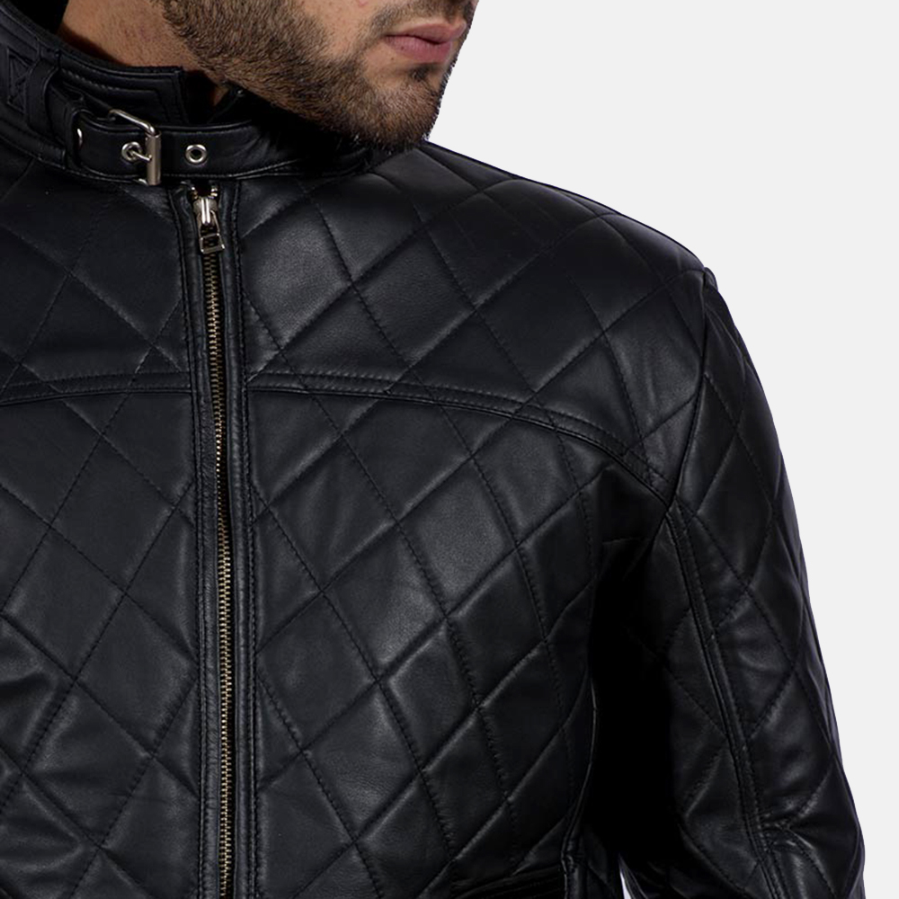 Mens Equilibrium Black Leather Jacket 3