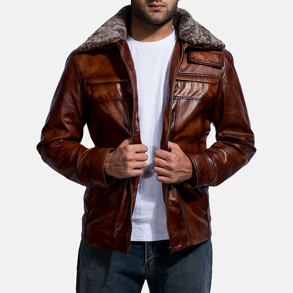Mens Evan Hart Fur Brown Leather Jacket 4