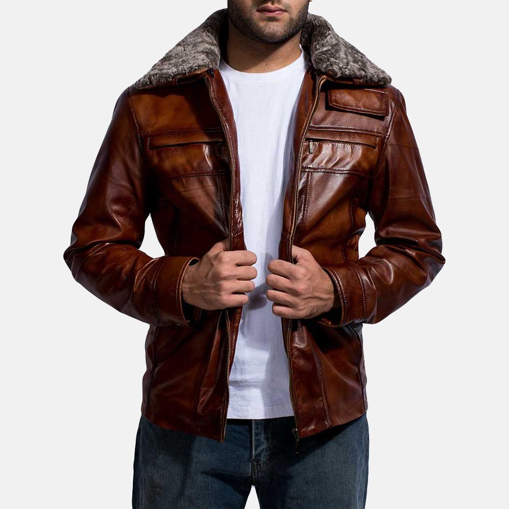 Mens Evan Hart Fur Brown Leather Jacket 2
