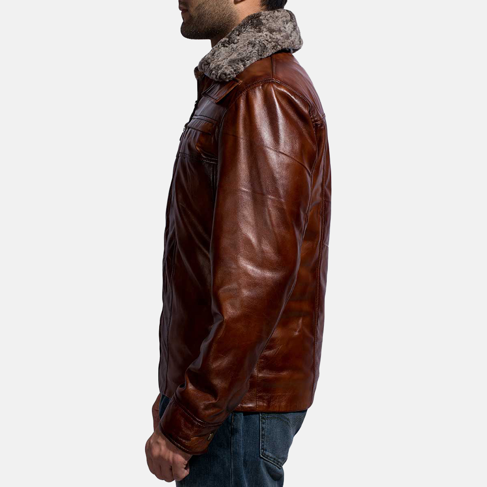 Mens Evan Hart Fur Brown Leather Jacket 4