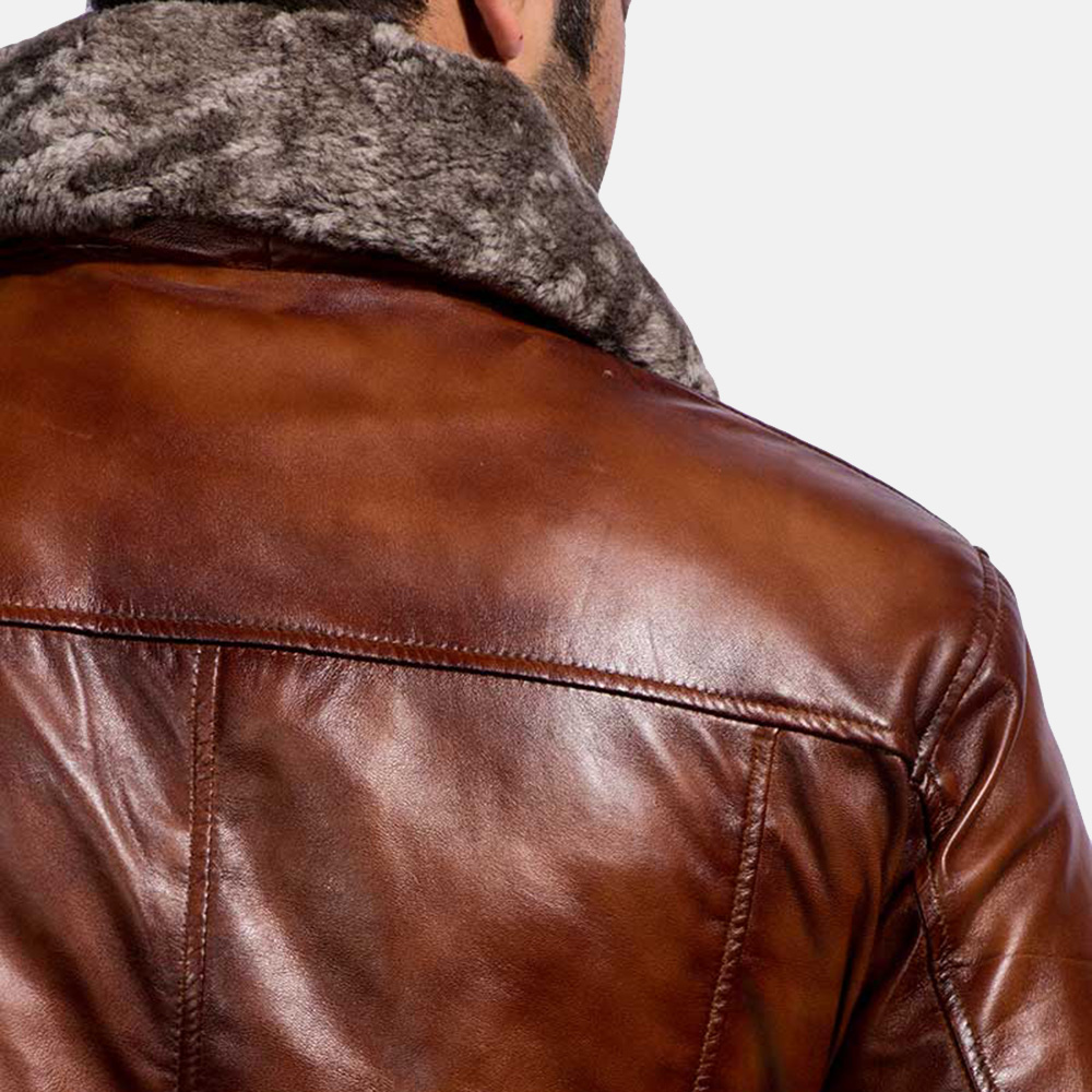 Mens Evan Hart Fur Brown Leather Jacket 7