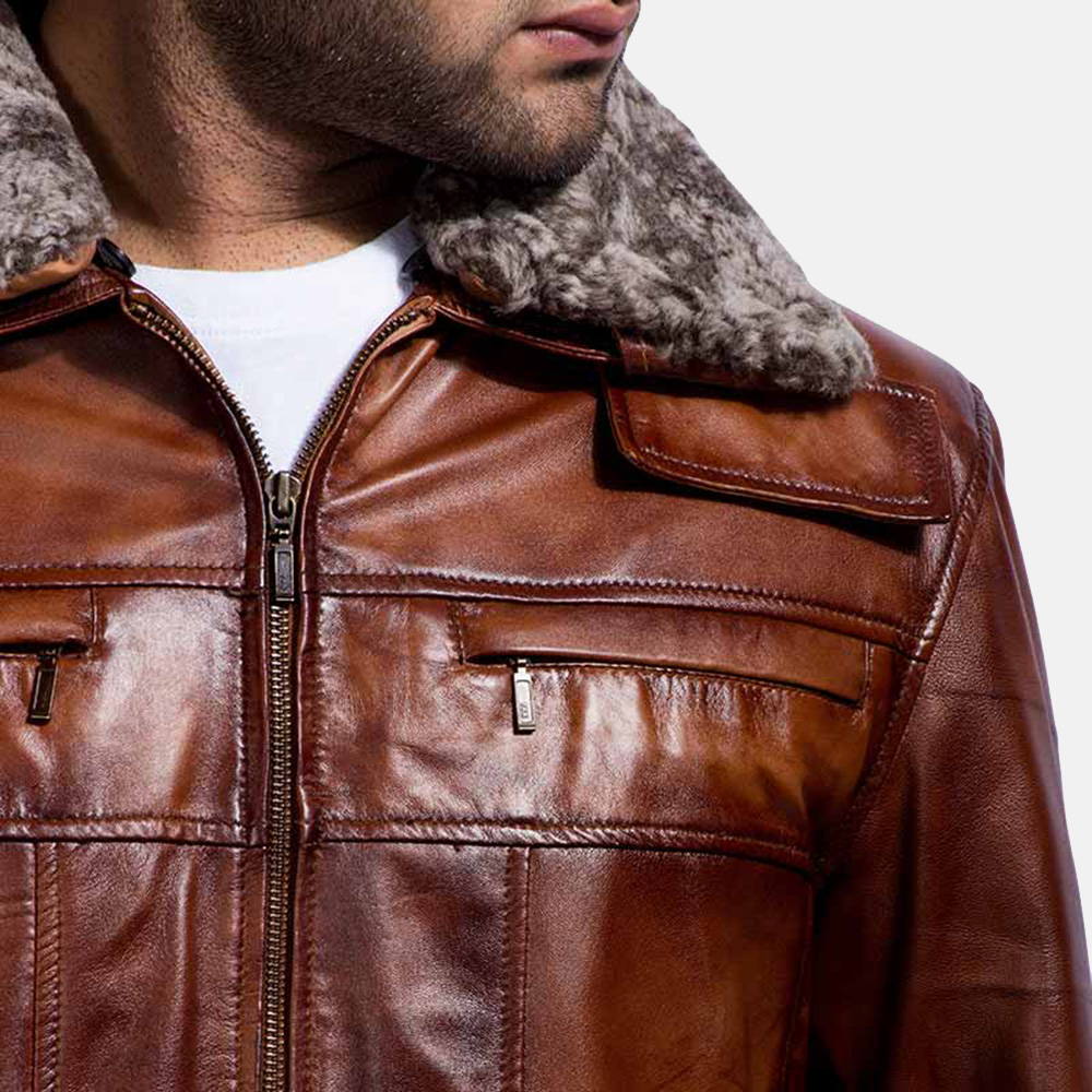 Mens Evan Hart Fur Brown Leather Jacket 2