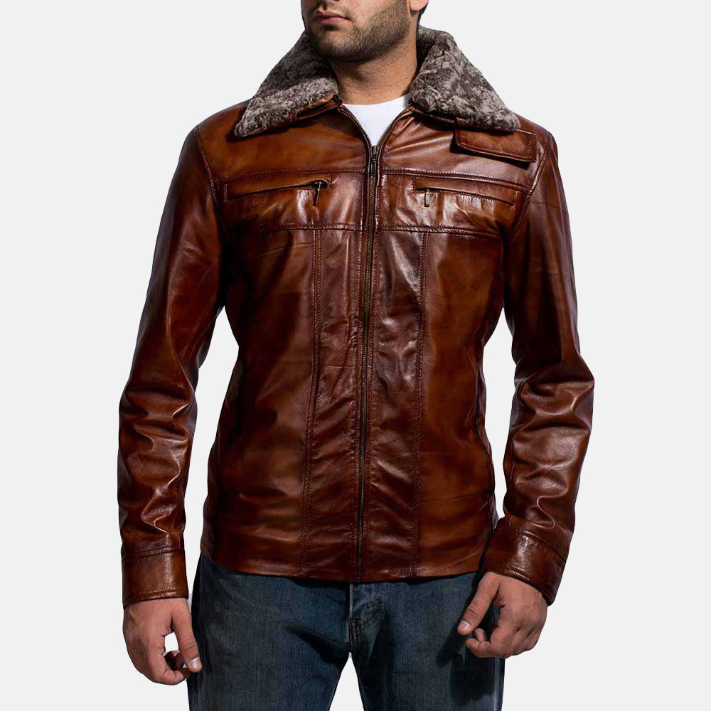 Mens Evan Hart Fur Brown Leather Jacket 1