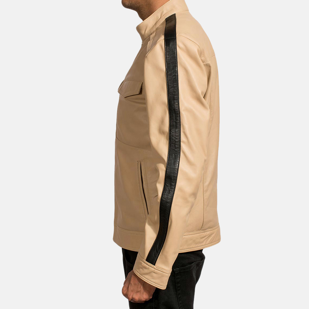 Mens Fathom White Leather Jacket 3