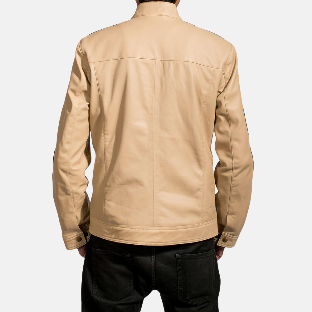 Mens Fathom White Leather Jacket 4