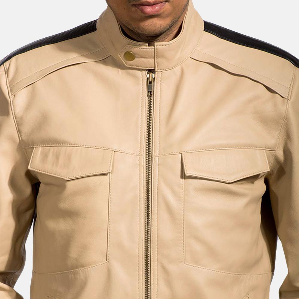 Mens Fathom White Leather Jacket 2