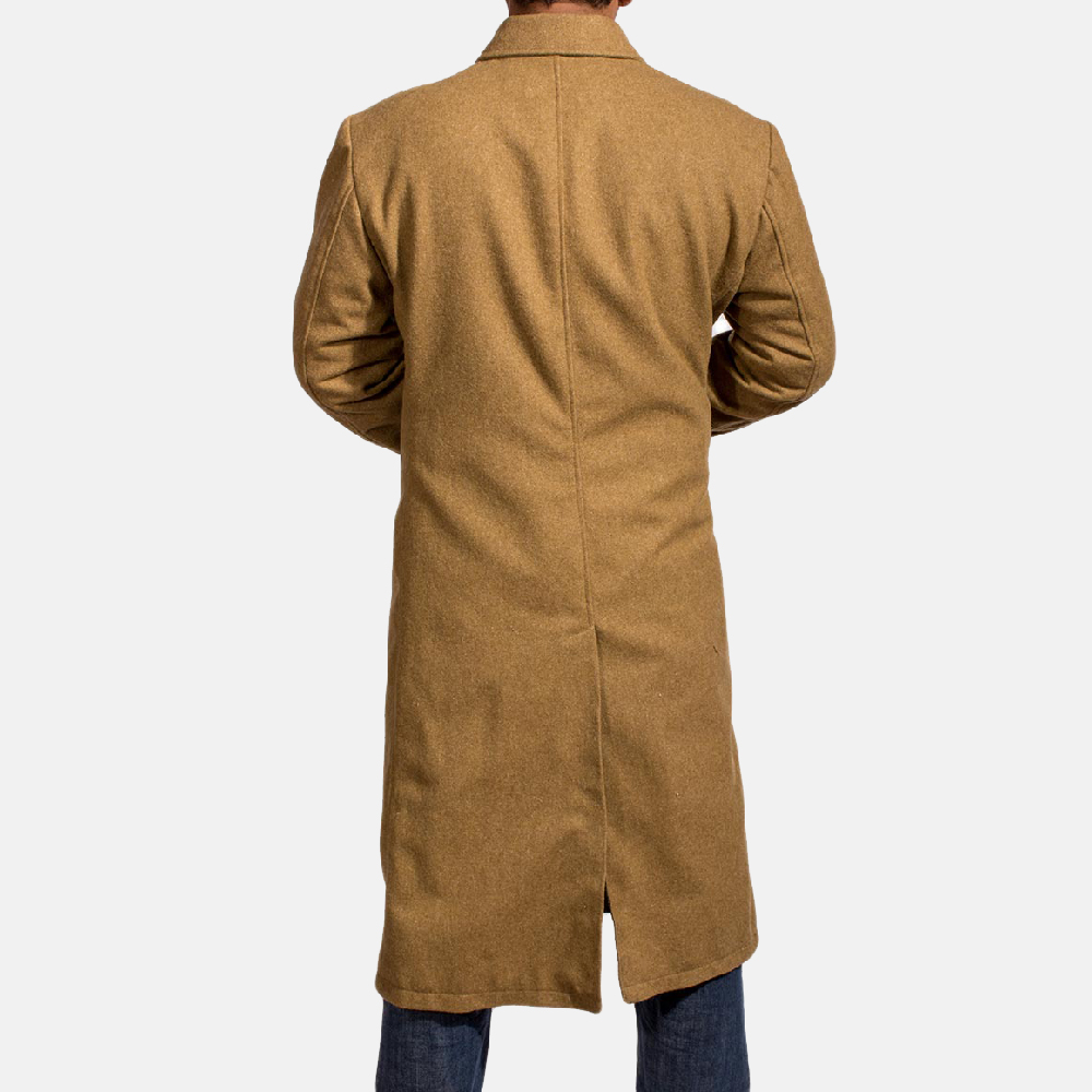 Mens Froth Khaki Wool Peacoat 4