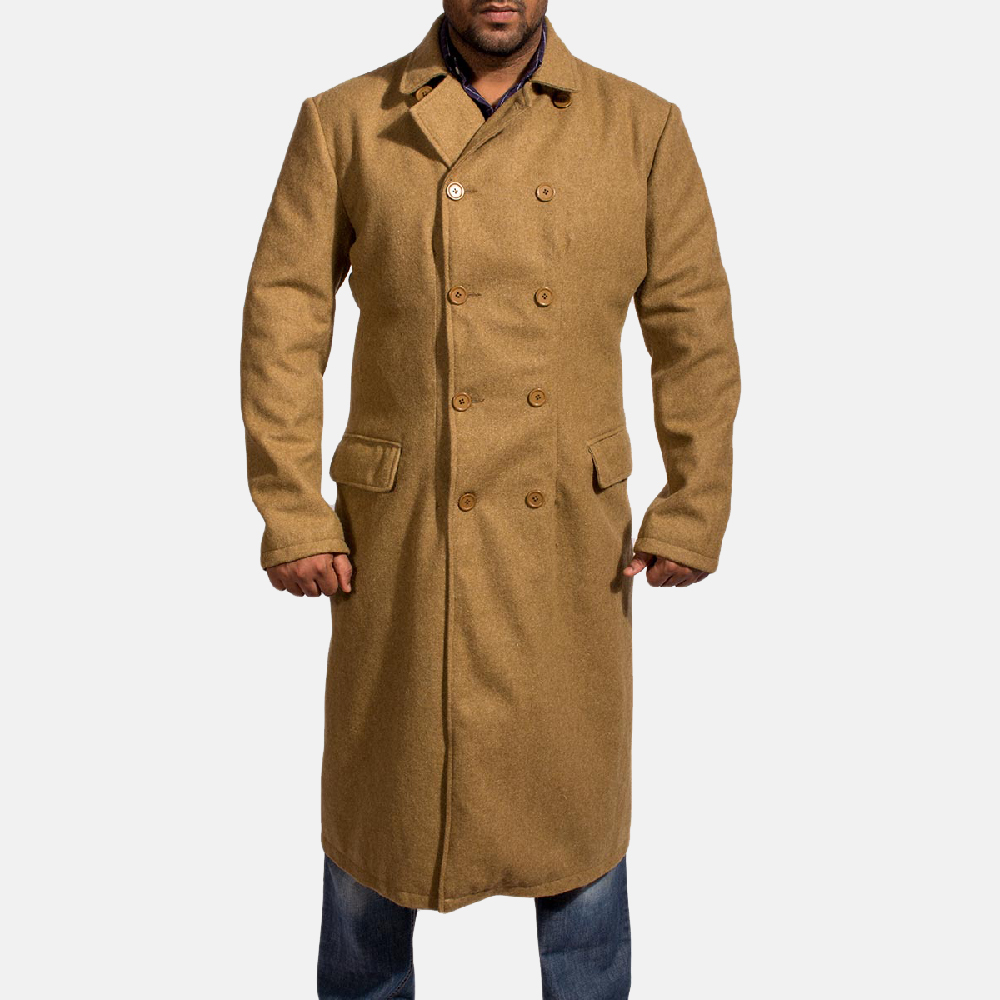 Mens Froth Khaki Wool Peacoat 1