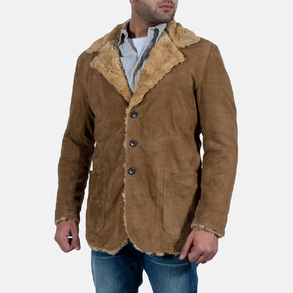 Mens Furlong Beige Leather Coat 2