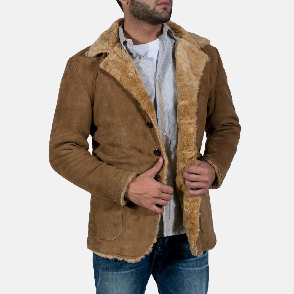Mens Furlong Beige Leather Coat 3