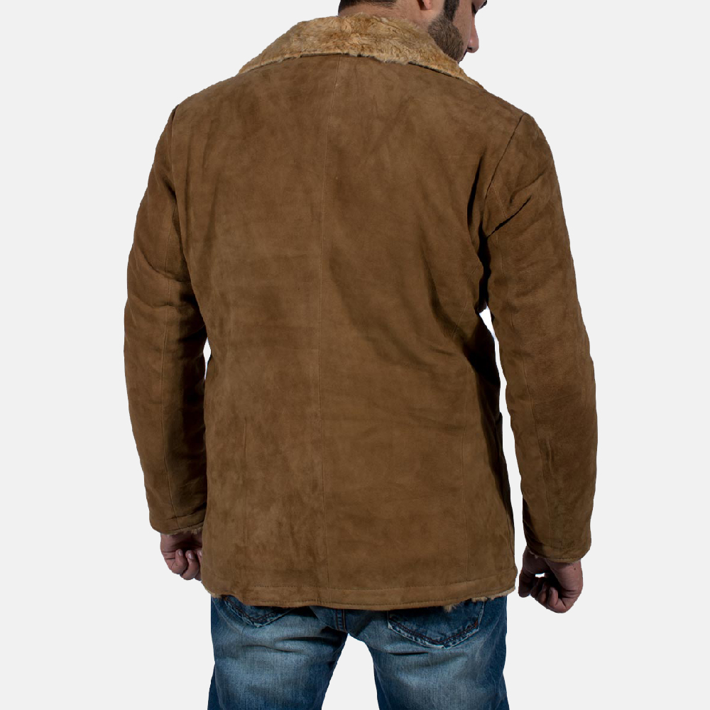 Mens Furlong Beige Leather Coat 5
