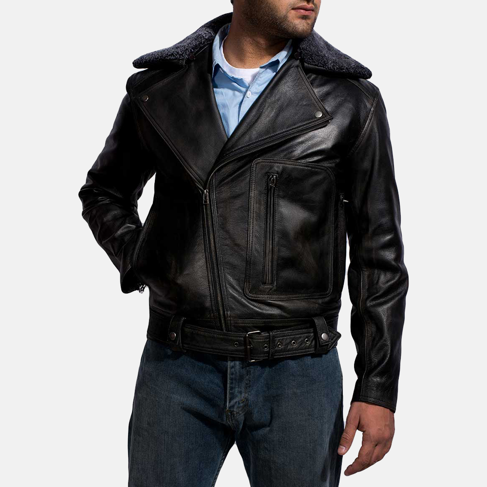 Mens Furton Black Fur Biker Jacket 3