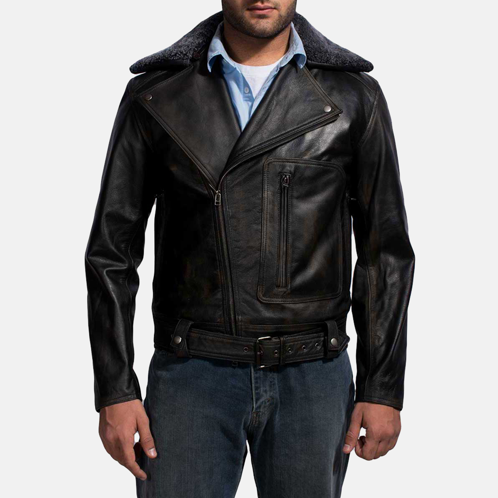 Mens Furton Black Fur Biker Jacket 1