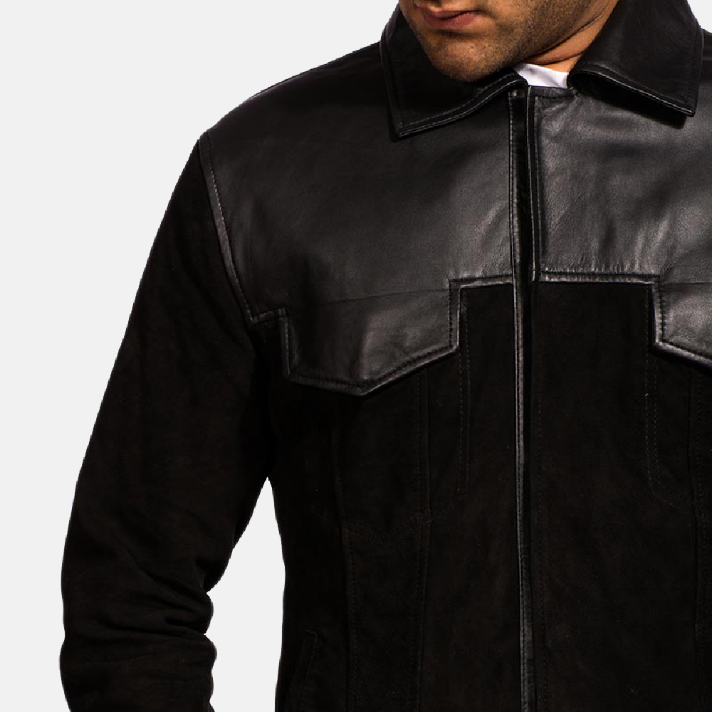 Mens Fusion Black Suede Leather Jacket 2
