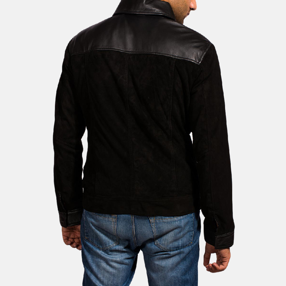 Mens Fusion Black Suede Leather Jacket 5