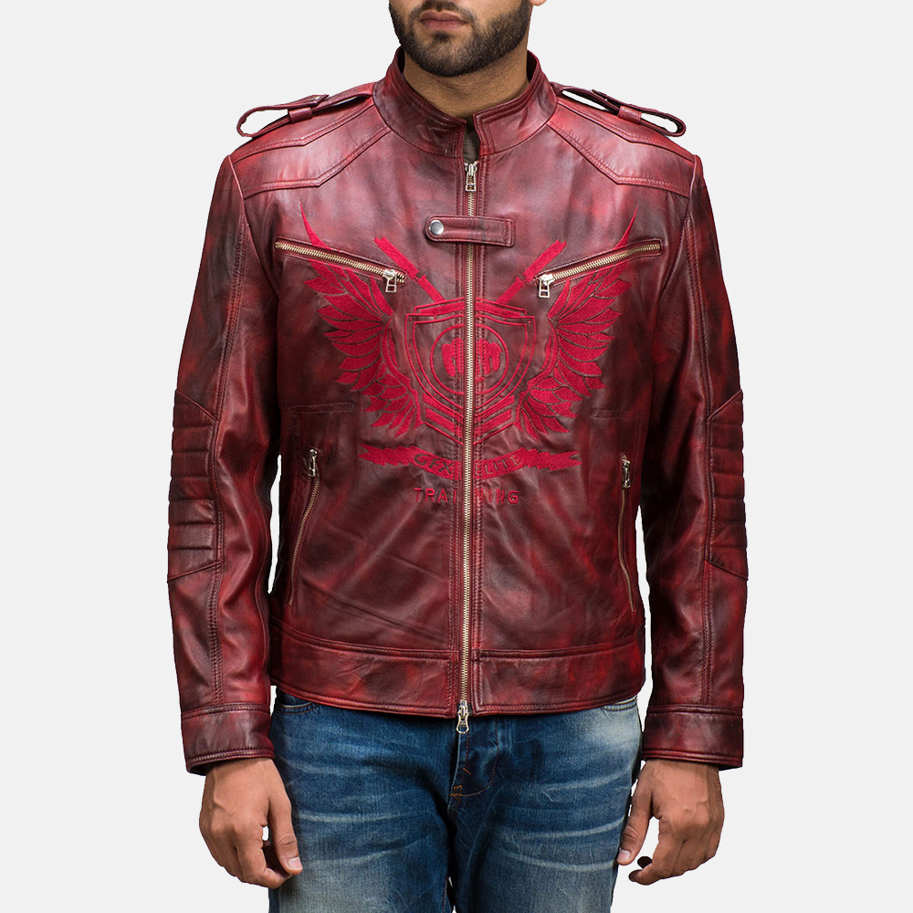 Mens GFX Elite Red Leather Jacket 1