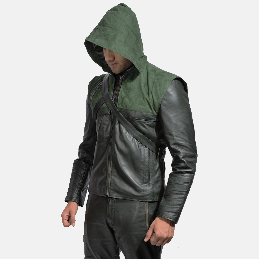 Mens Green Hooded Leather Jacket 2
