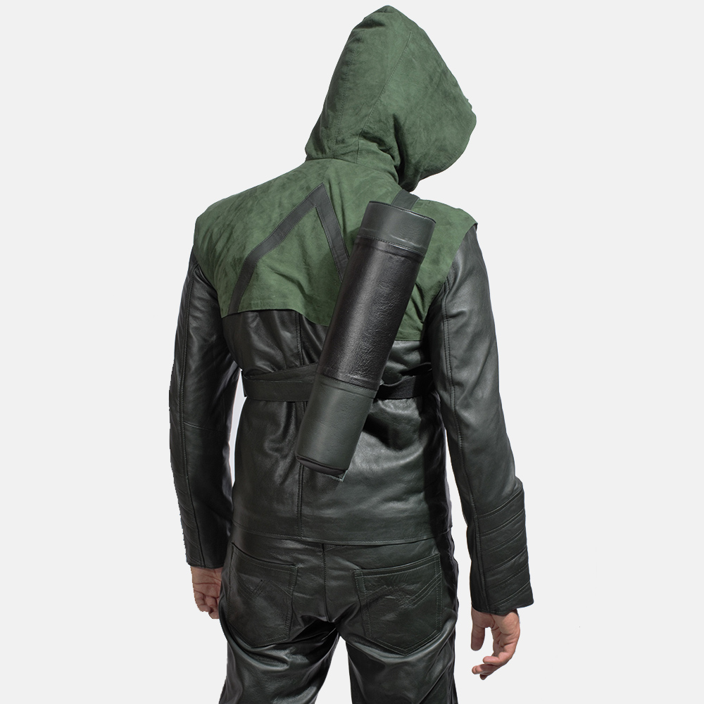 Mens Green Hooded Leather Costume 4