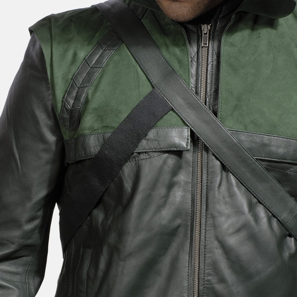 Mens Green Hooded Leather Jacket 4