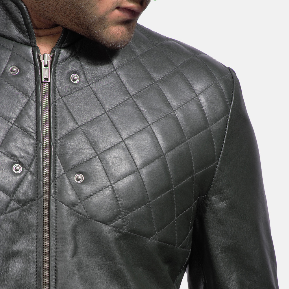 Mens Green Hooded Leather Jacket 6