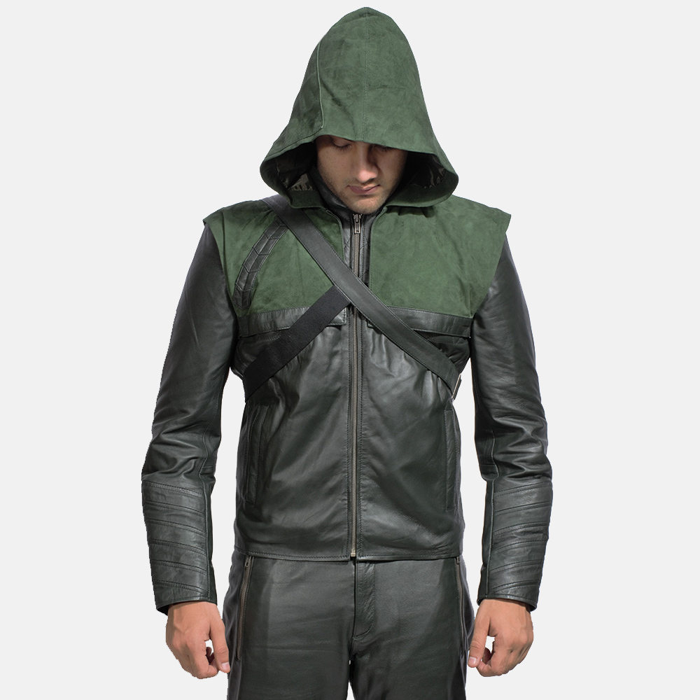 Mens Green Hooded Leather Jacket 1