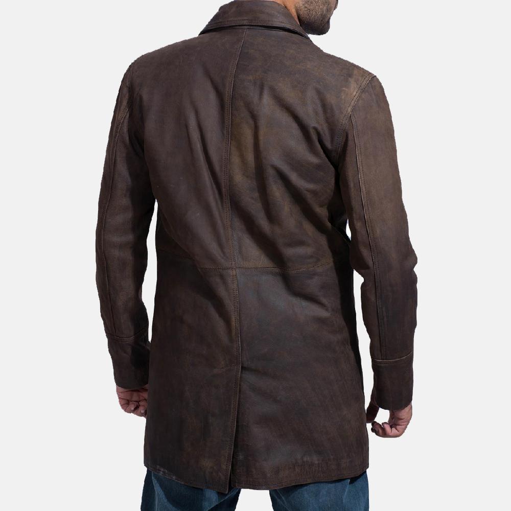 Mens Half Life Brown Leather Coat 5
