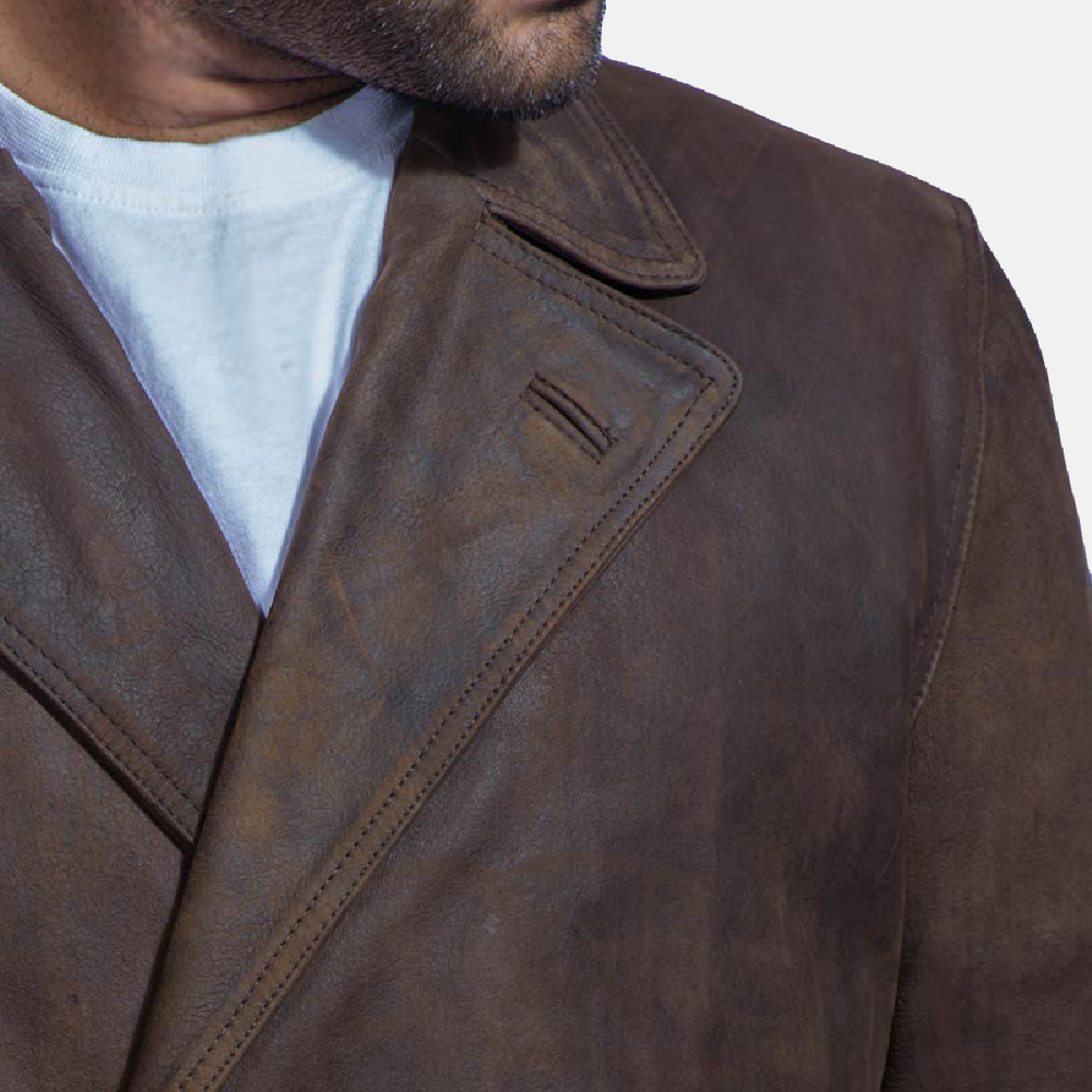 Mens Half Life Brown Leather Coat 2