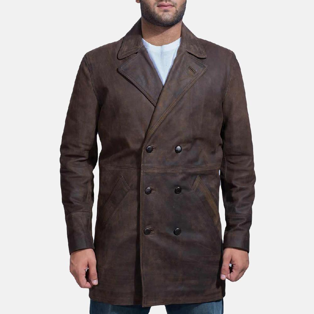 Mens Half Life Brown Leather Coat 1
