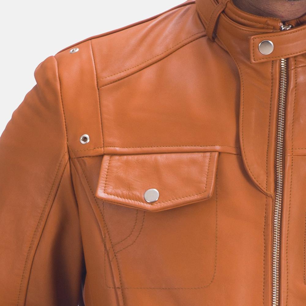 Mens Hans Tan Brown Leather Jacket 3