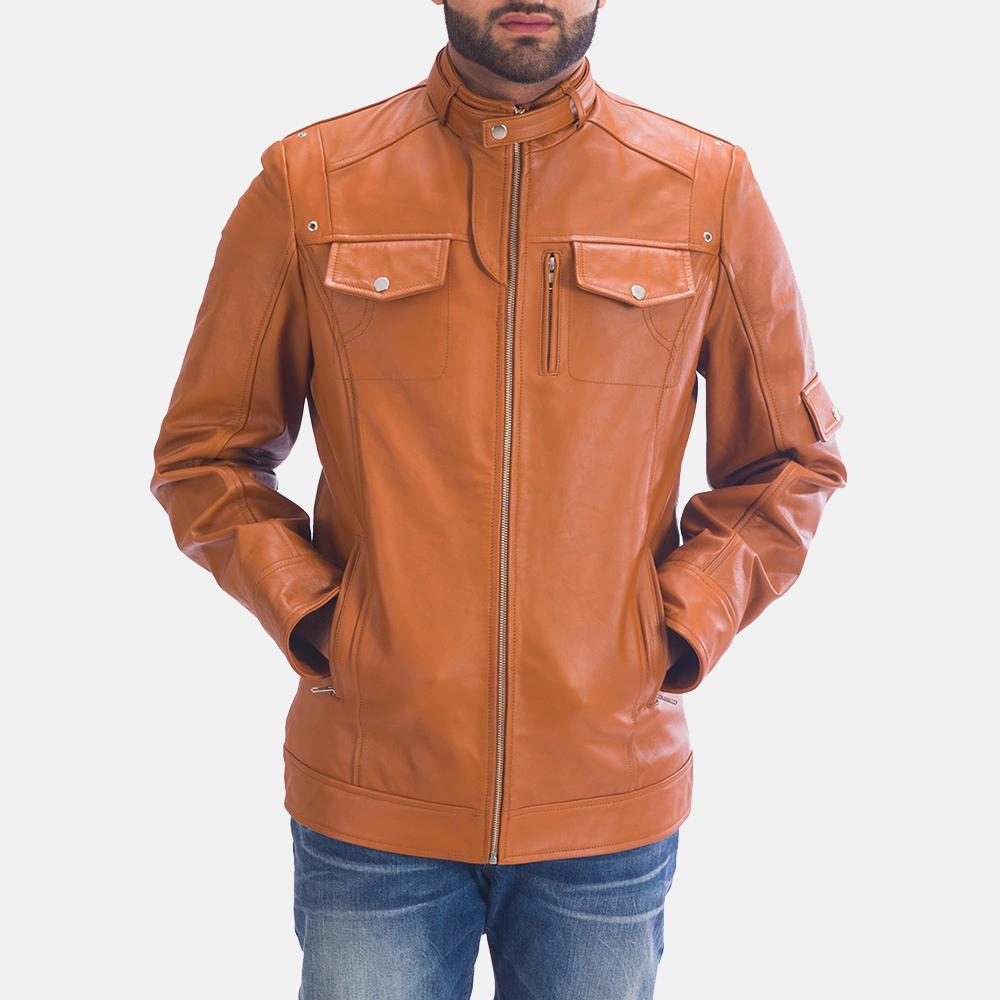 Mens Hans Tan Brown Leather Jacket 1