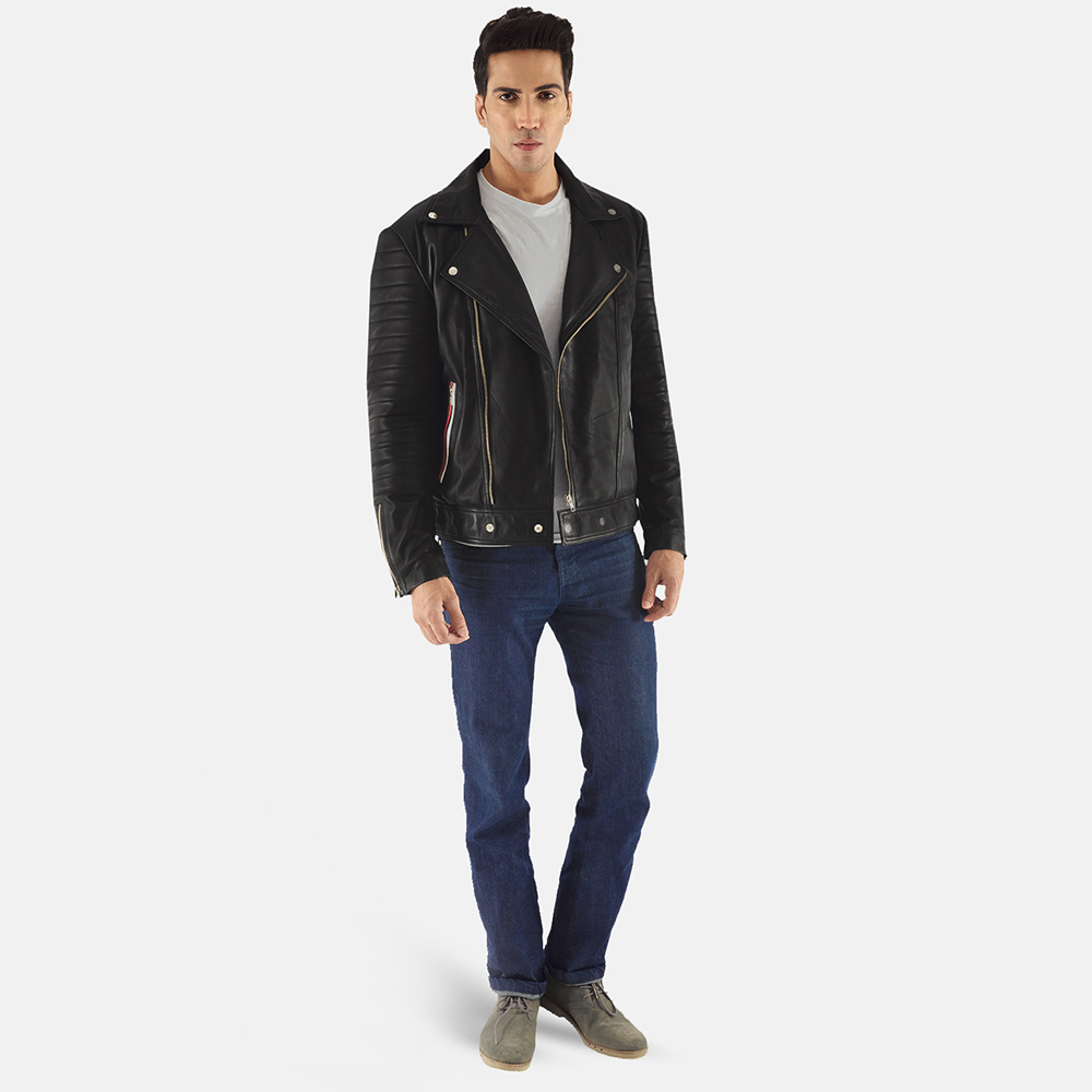 Mens Highfield Black Leather Biker Jacket 2