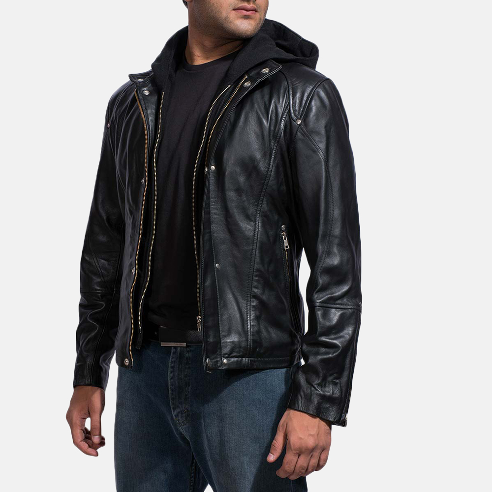 Mens Highschool Black Leather Jacket 2