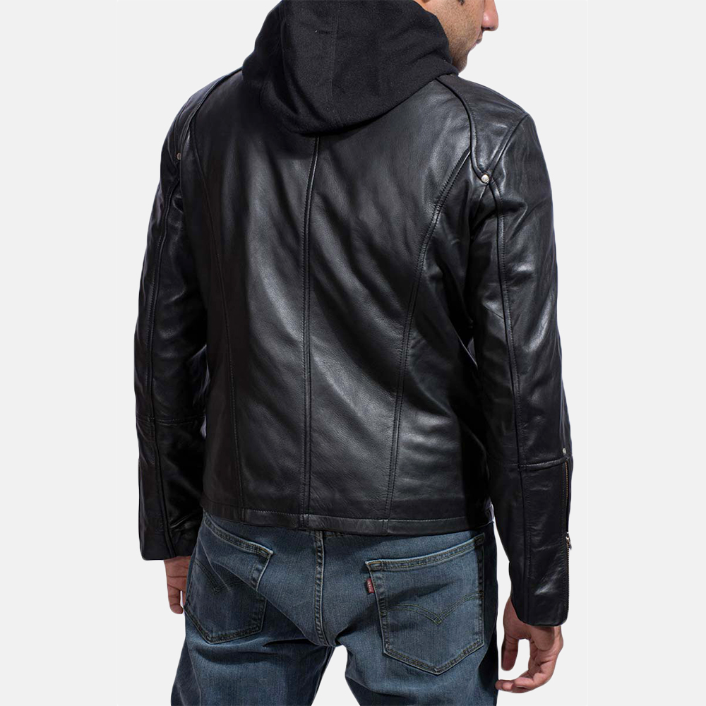 Mens Highschool Black Leather Jacket 4