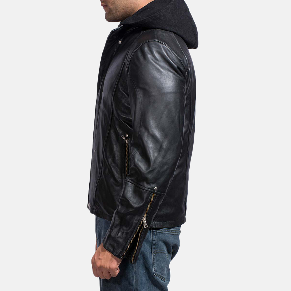 Mens Highschool Black Leather Jacket 5