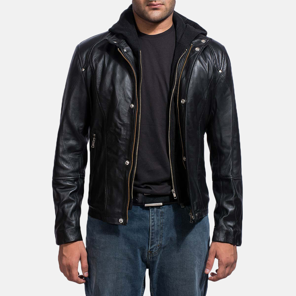 Mens Highschool Black Leather Jacket 1