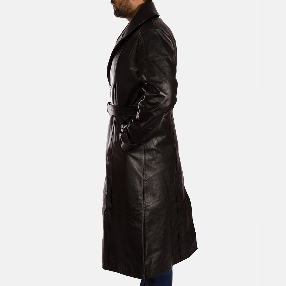 Mens Hooligan Black Leather Trench Coat 4