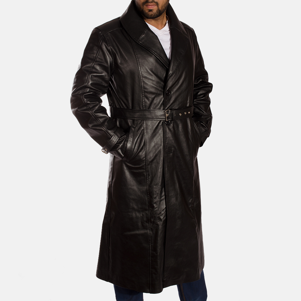 Mens Hooligan Black Leather Trench Coat
