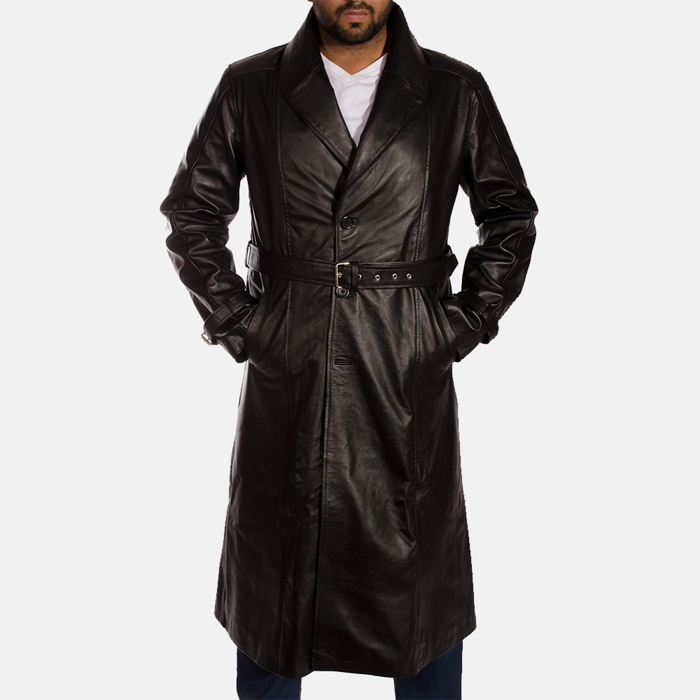 Mens Hooligan Black Leather Trench Coat 1