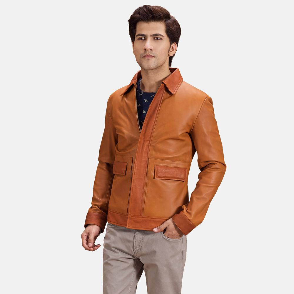 Mens Hubert Tan Brown Leather Jacket 1