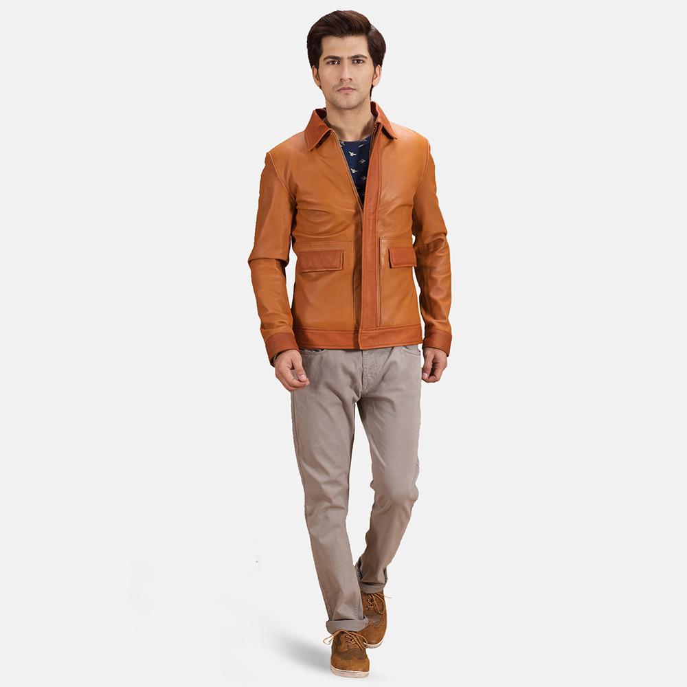 Mens Hubert Tan Brown Leather Jacket 2