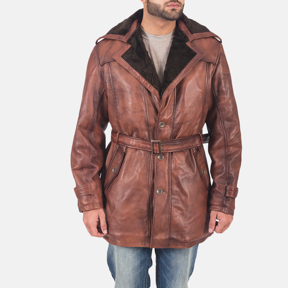 Mens Hunter Brown Fur Leather Coat 1