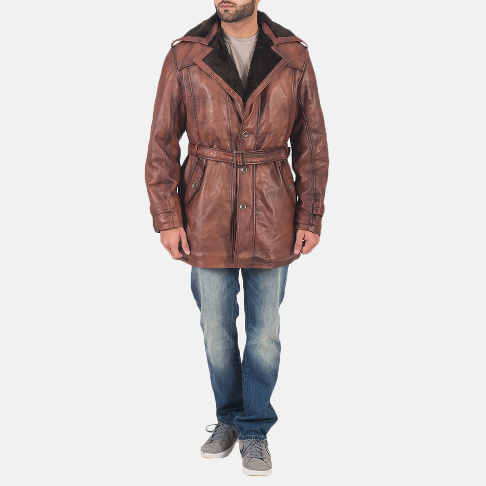 Mens Hunter Brown Fur Leather Coat 2