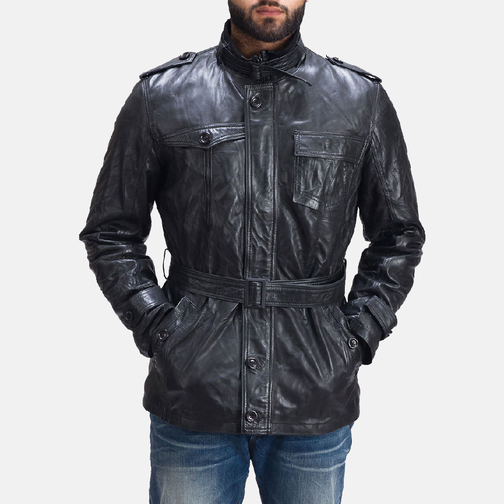 Mens Hunter Fur Black Leather Jacket 2