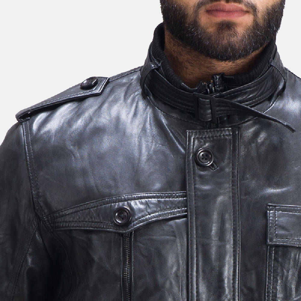 Mens Hunter Fur Black Leather Jacket 7
