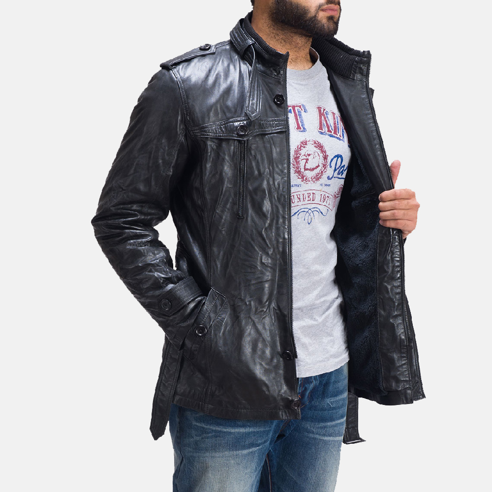 Mens Hunter Fur Black Leather Jacket 1