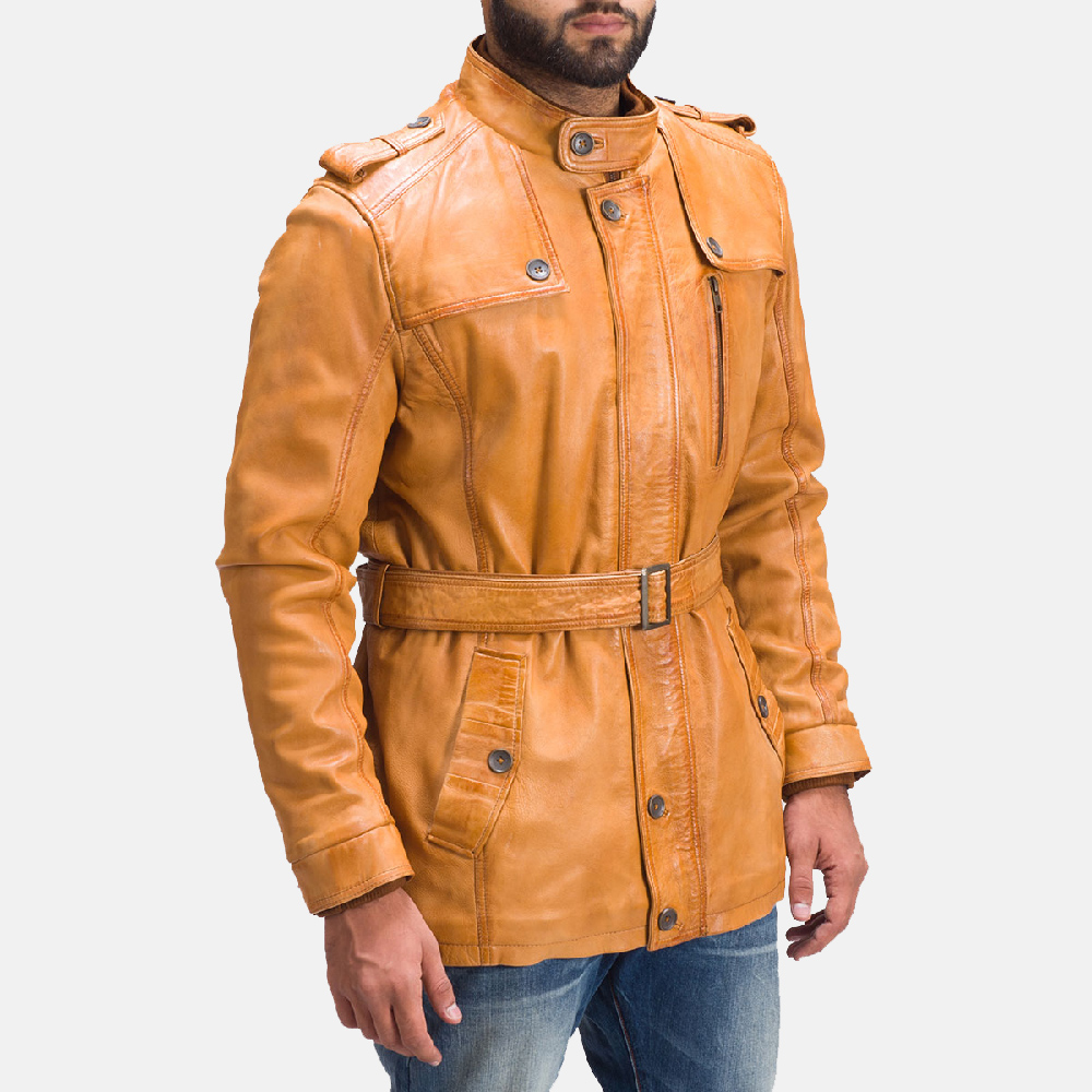 Mens Hunter Tan Brown Fur Leather Jacket 3